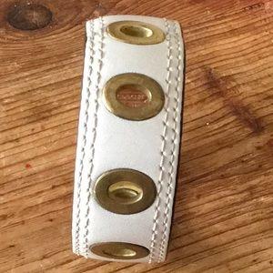 Coach white leather w/ gold grommet cuff bracelet